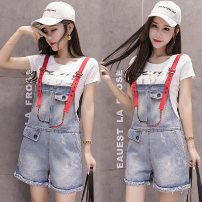 【韓國K.W.】(預購)時尚有型連身牛仔吊帶褲-1色