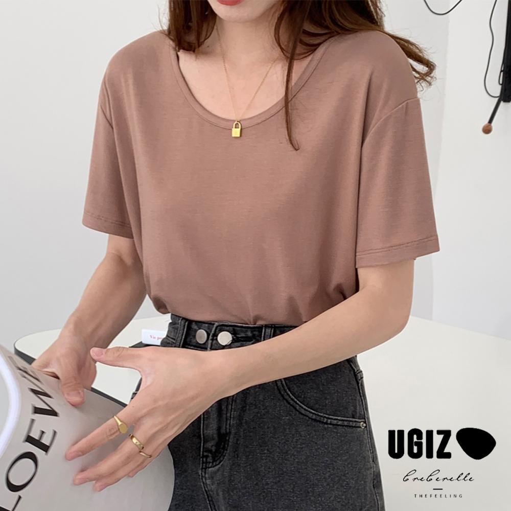 UGIZ-修身時尚圓領純色造型上衣-4色(M-XL)