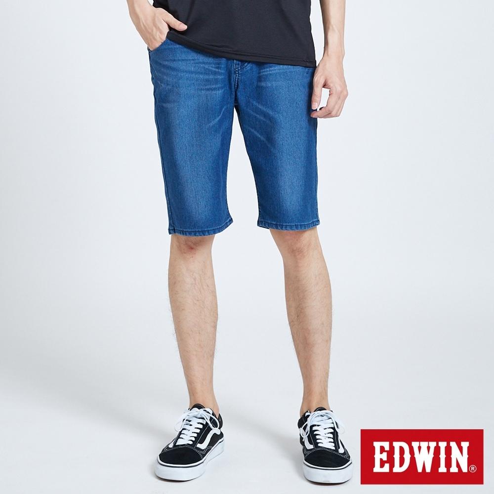 EDWIN JERSEYS 迦績 EJ2中腰合身涼感 牛仔短褲-男-拔洗藍