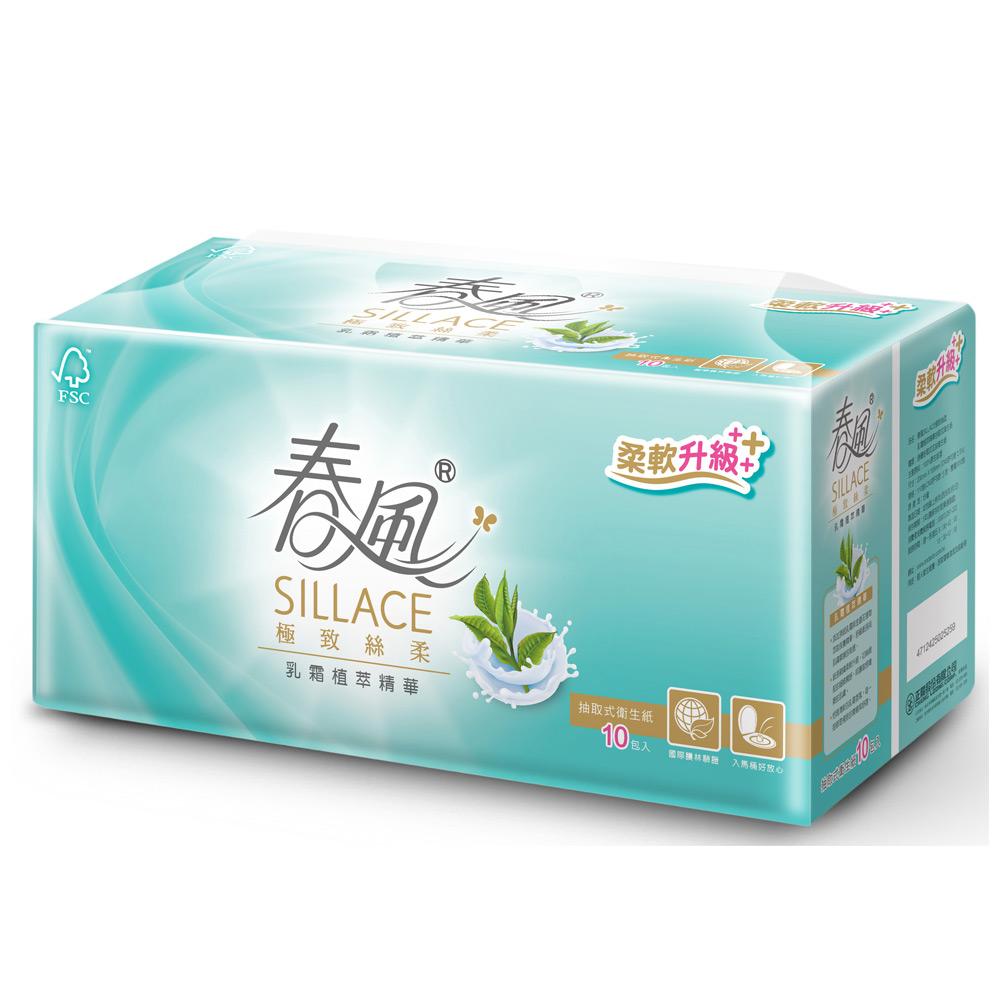 春風SILLACE乳霜植萃抽取衛生紙110抽x10包/串