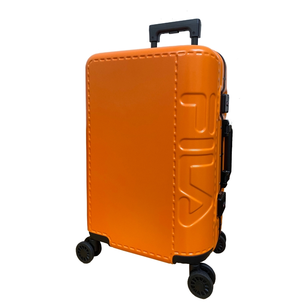 FILA 25吋類皮革印象終極版鋁框箱-活力橘