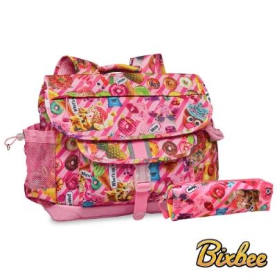 美國Bixbee - 彩印系列粉粉甜想大童輕量舒壓背書包筆袋超值組