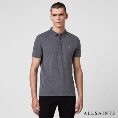 ALLSAINTS BRACE 素面修身純棉短袖POLO衫-木炭灰