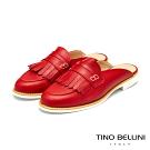 Tino Bellini義大利進口學院派流蘇穆勒鞋_紅