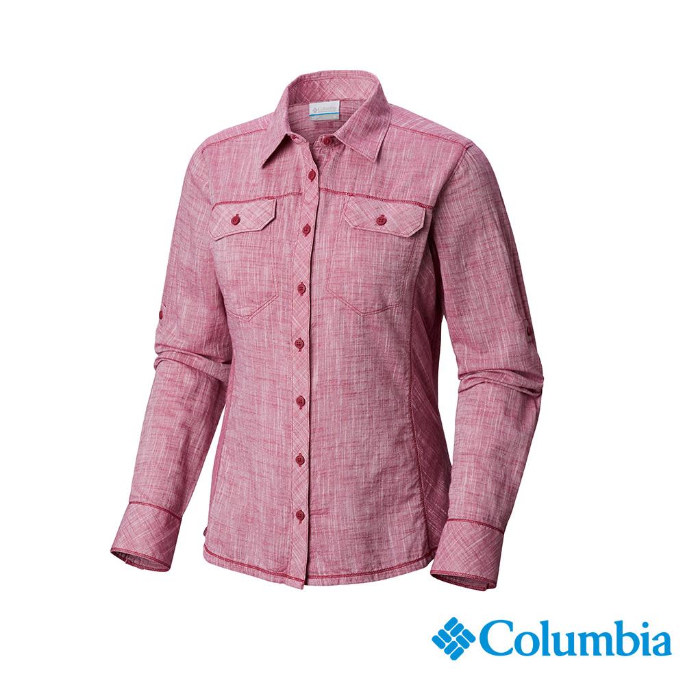 Columbia 哥倫比亞 女款-純棉長袖襯衫-紫紅 UAL79900PD