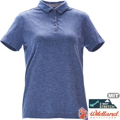 Wildland 荒野 0A71639-69灰藍色 女彈性抗UV本布領POLO上衣