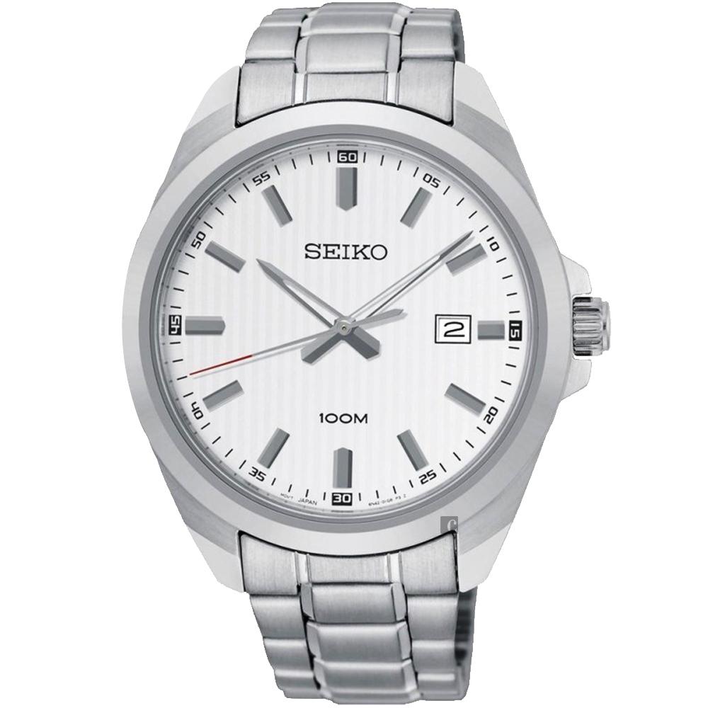 SEIKO 精工 城市時尚石英手錶(SUR273P1)-銀/42mm