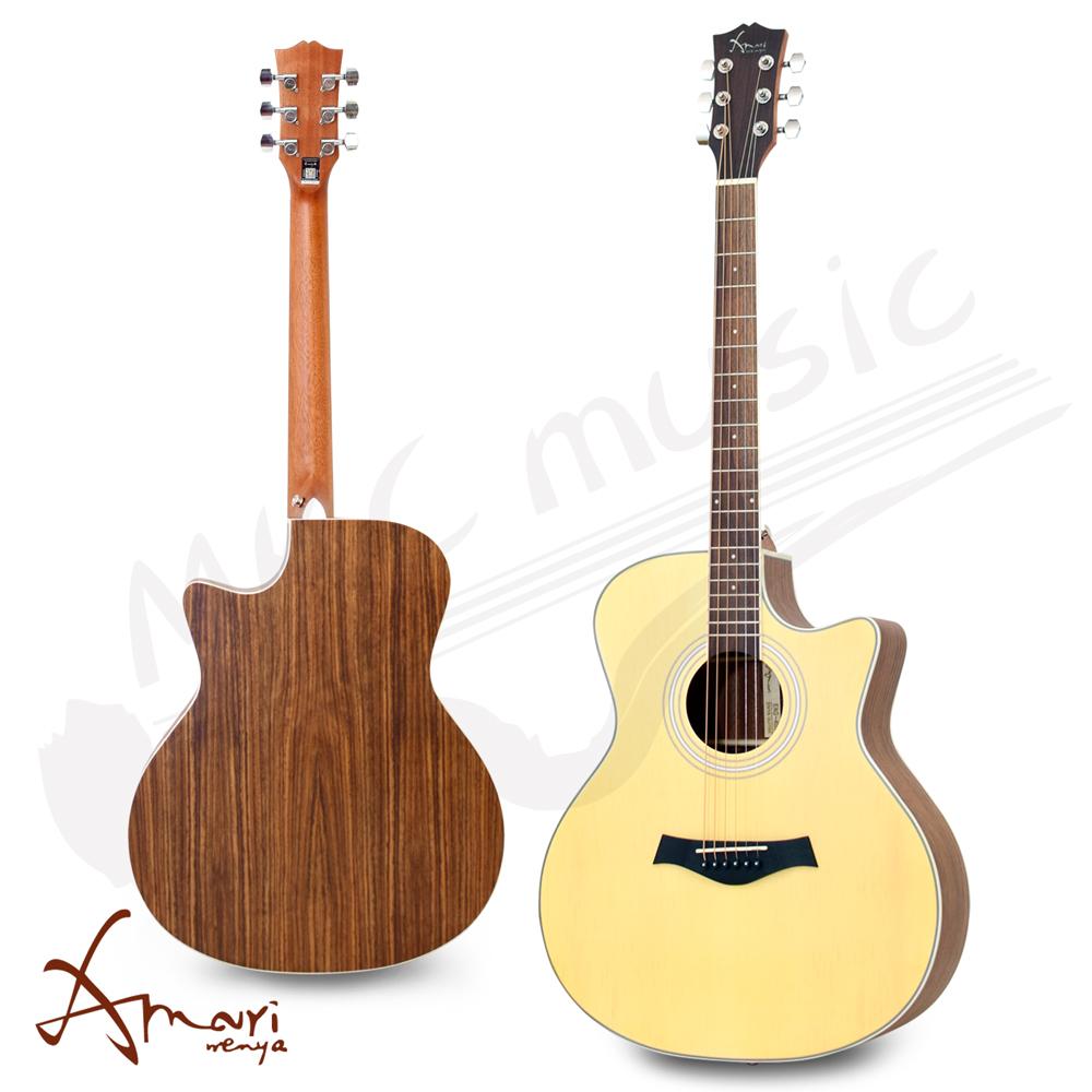 Amari 40吋 雲杉面板側背胡桃木 民謠吉他(EAG-40A)原木色 加贈超值五寶