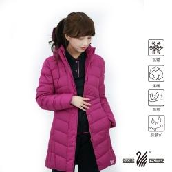 【遊遍天下】女款長版防風防潑水連帽羽絨外套GJ22026玫紅