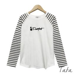 黑貓字母拼接條紋上衣 TATA-(S~L)