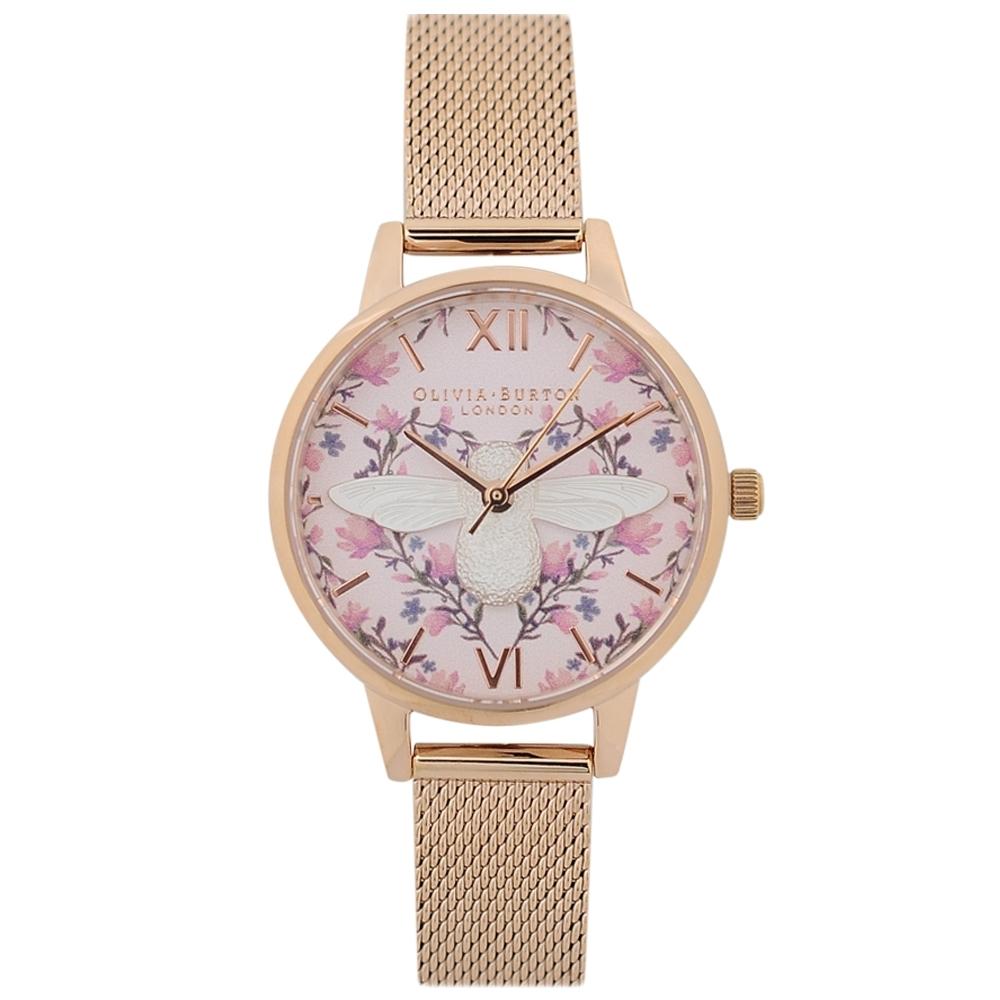Olivia Burton 英倫復古手錶 3D立體蜜蜂花園 玫瑰金色米蘭錶帶錶框30mm