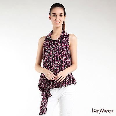 KeyWear奇威名品     魅力人氣層次雪紡削肩上衣-紫紅色