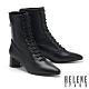 短靴 HELENE SPARK 復古時髦綁帶尖頭彈力皮革粗高跟短靴-黑 product thumbnail 1