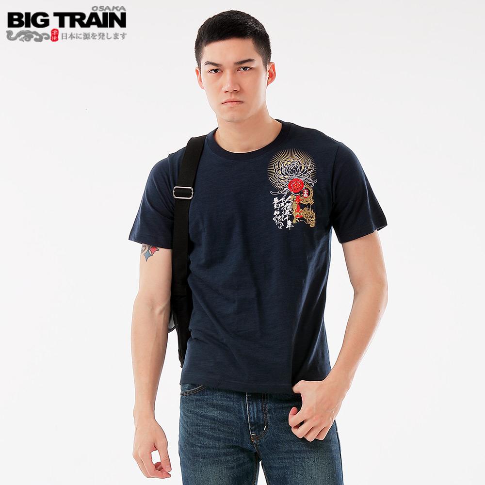 Big Train 龍城烽火圓領短袖-男-深藍 product image 1