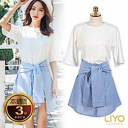 LIYO理優襯衫袖綁腰洋裝(披肩+洋裝)共2件(白)