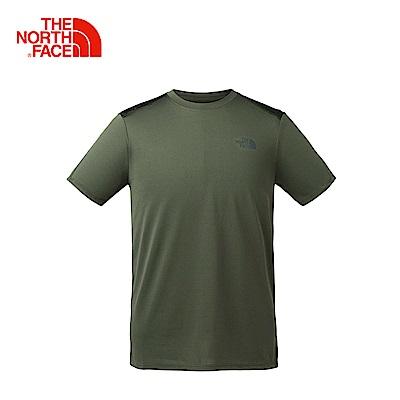 The North Face北面男款軍綠吸濕排汗戶外運動短T恤