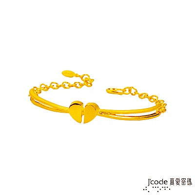 (無卡分期12期)J'code真愛密碼 心相印黃金手鍊