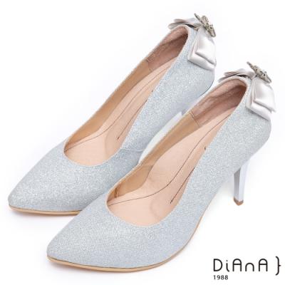 DIANA璀璨星紗後跟垂吊飾水鑽蝴蝶結跟鞋(婚鞋推薦)-注目吸睛-銀
