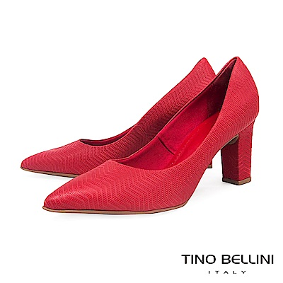 Tino Bellini 巴西進口幾何形象波浪線條尖楦跟鞋 _ 紅