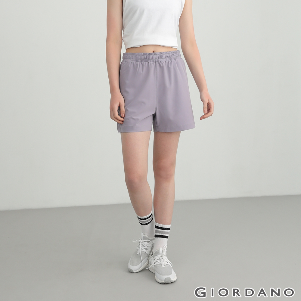 GIORDANO 女裝3M彈力機能短褲 - 85 紫灰