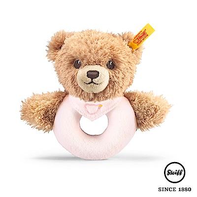 STEIFF德國金耳釦泰迪熊 - 圍兜小棕熊熊 手搖玩偶(嬰幼兒搖鈴)