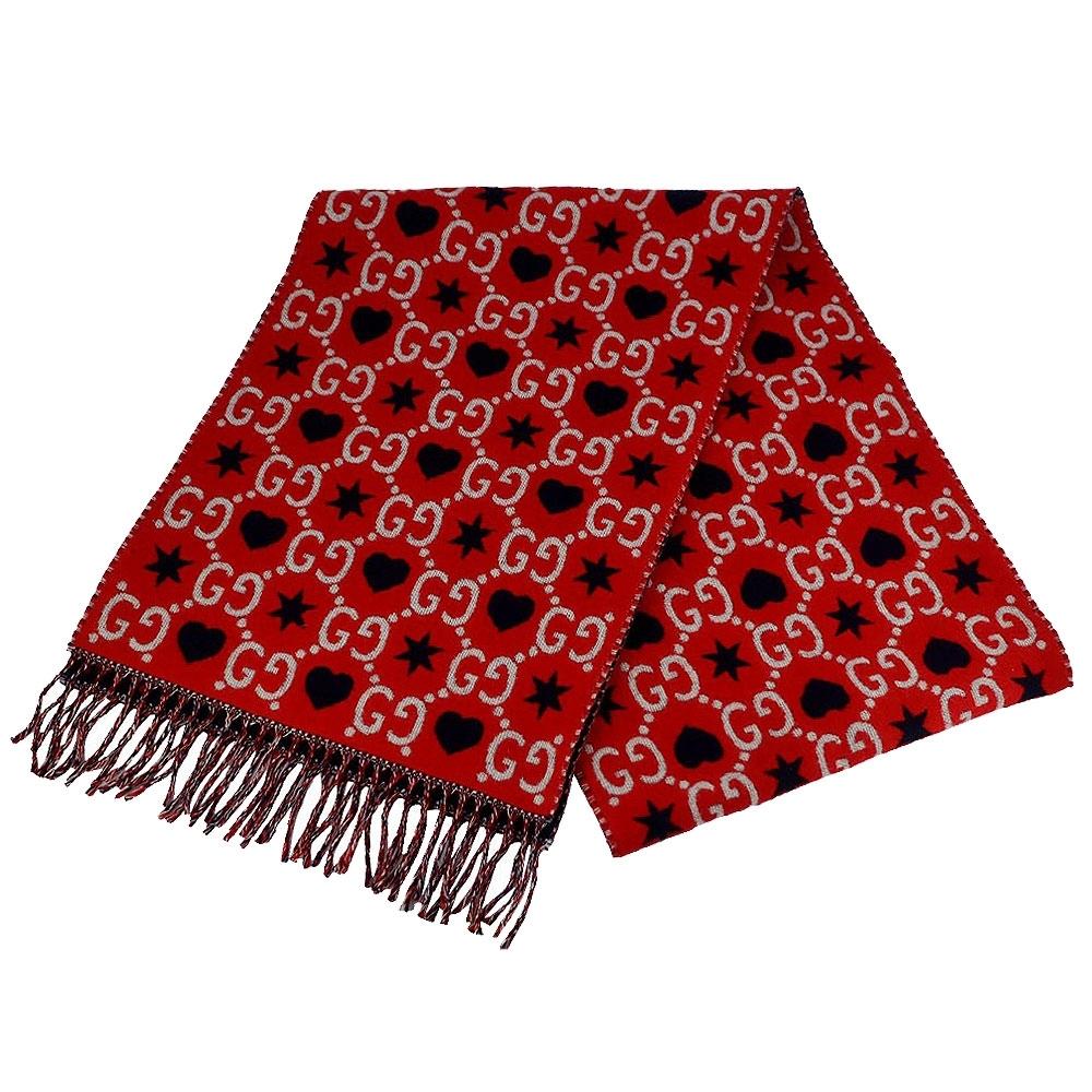 GUCCI 雙G愛心 LOGO 紅色100%羊毛混紡厚質圍巾