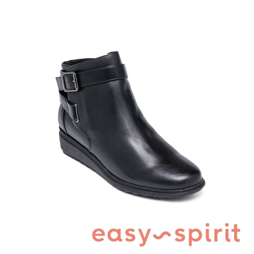 Easy Spirit-seYARA 牛皮素面氣質百搭平底短靴-黑色