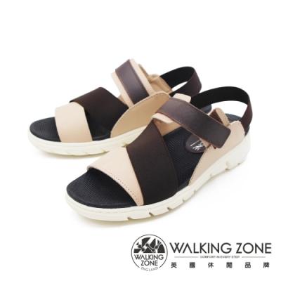 WALKING ZONE (女)彈力帶厚底增高涼鞋-咖(另有藍)
