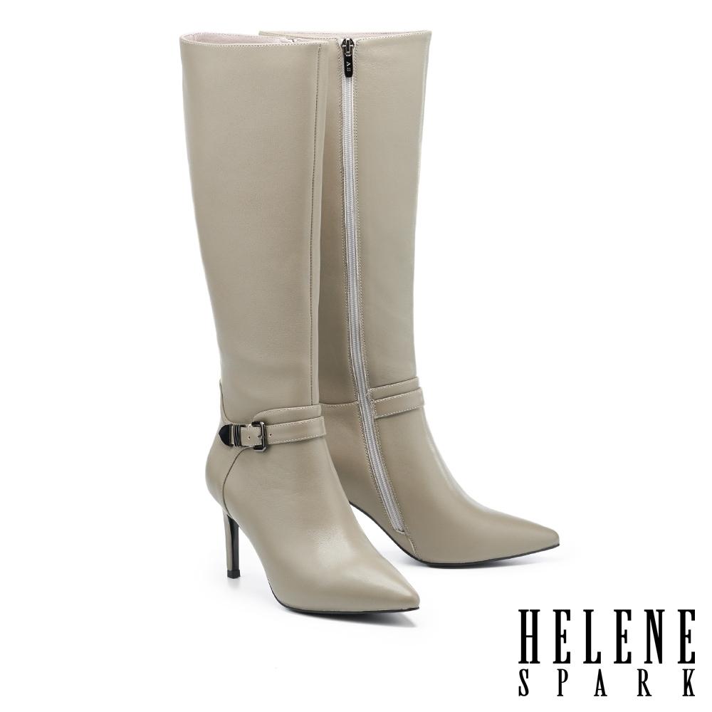 長靴 HELENE SPARK 都會摩登金屬釦帶全真皮尖頭美型高跟長靴-灰