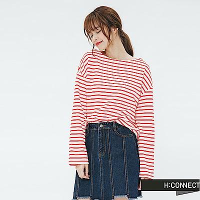 H:CONNECT 韓國品牌 女裝-鈕扣設計條紋上衣-紅
