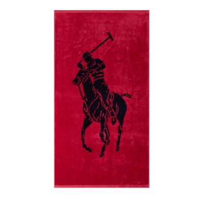 Polo Ralph Lauren 經典大馬圖案大沙灘雙面浴巾-紅色