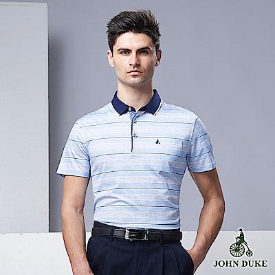 JOHN DUKE時尚繽紛跳色休閒POLO衫_藍(60-9V6515)
