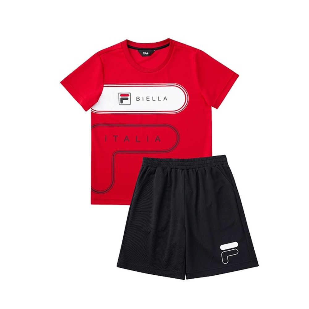 FILA KIDS 童吸濕排汗套裝-紅 1WTV-4907-RD