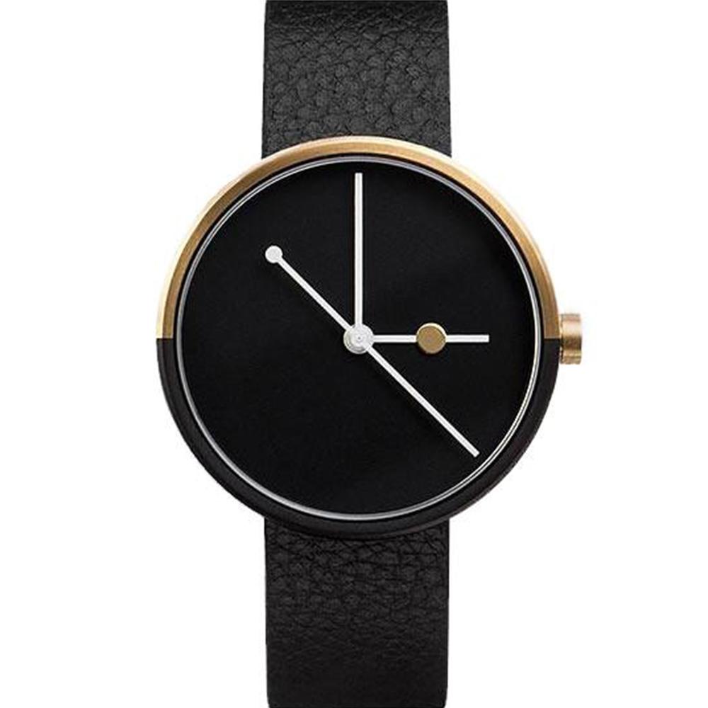 AÃRK 璀璨香檳金簡約真皮革腕錶 /黑38mm