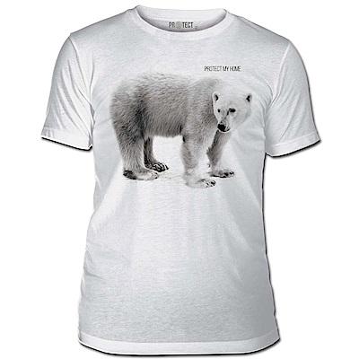 摩達客-美國The Mountain保育系列守護北極熊家園白色修身短袖T恤