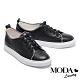 休閒鞋 MODA Luxury 簡約俏皮撞色全真皮厚底休閒鞋-黑 product thumbnail 1