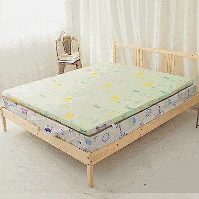 米夢家居-夢想家園-冬夏兩用100%精梳純棉+紙纖蓆面5cm床墊布套-雙人5尺-青春綠