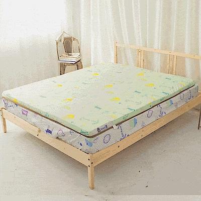 米夢家居-夢想家園-冬夏兩用100%純棉+紙纖蓆面5cm床墊布套-雙人加大6尺-青春綠