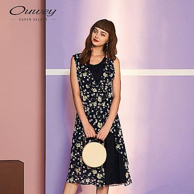 OUWEY歐薇 花卉雪紡活片背心洋裝(藍)