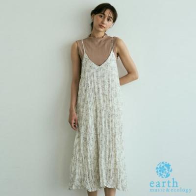earth music 點點/碎花打摺細肩帶洋裝