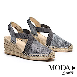 涼鞋 MODA Luxury 閃亮渡假風交叉帶草編厚底楔型涼鞋-銀