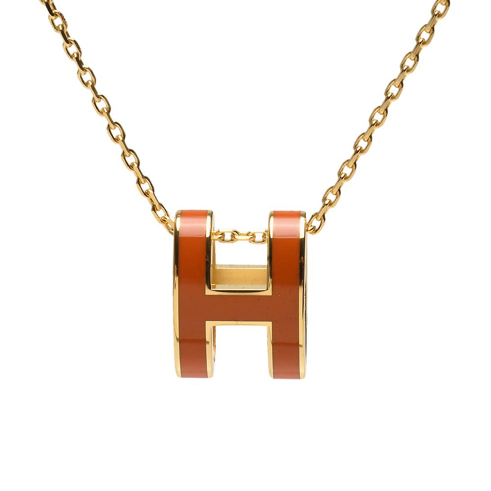 HERMES 經典Pop H立體簍空橢圓LOGO項鍊(橙X金)