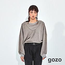 gozo U型色線裝飾連袖針織上衣(二色)