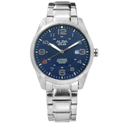 ALBA 台灣限定 環保太陽能 藍寶石水晶玻璃 防水100米 不鏽鋼手錶-藍色/39mm