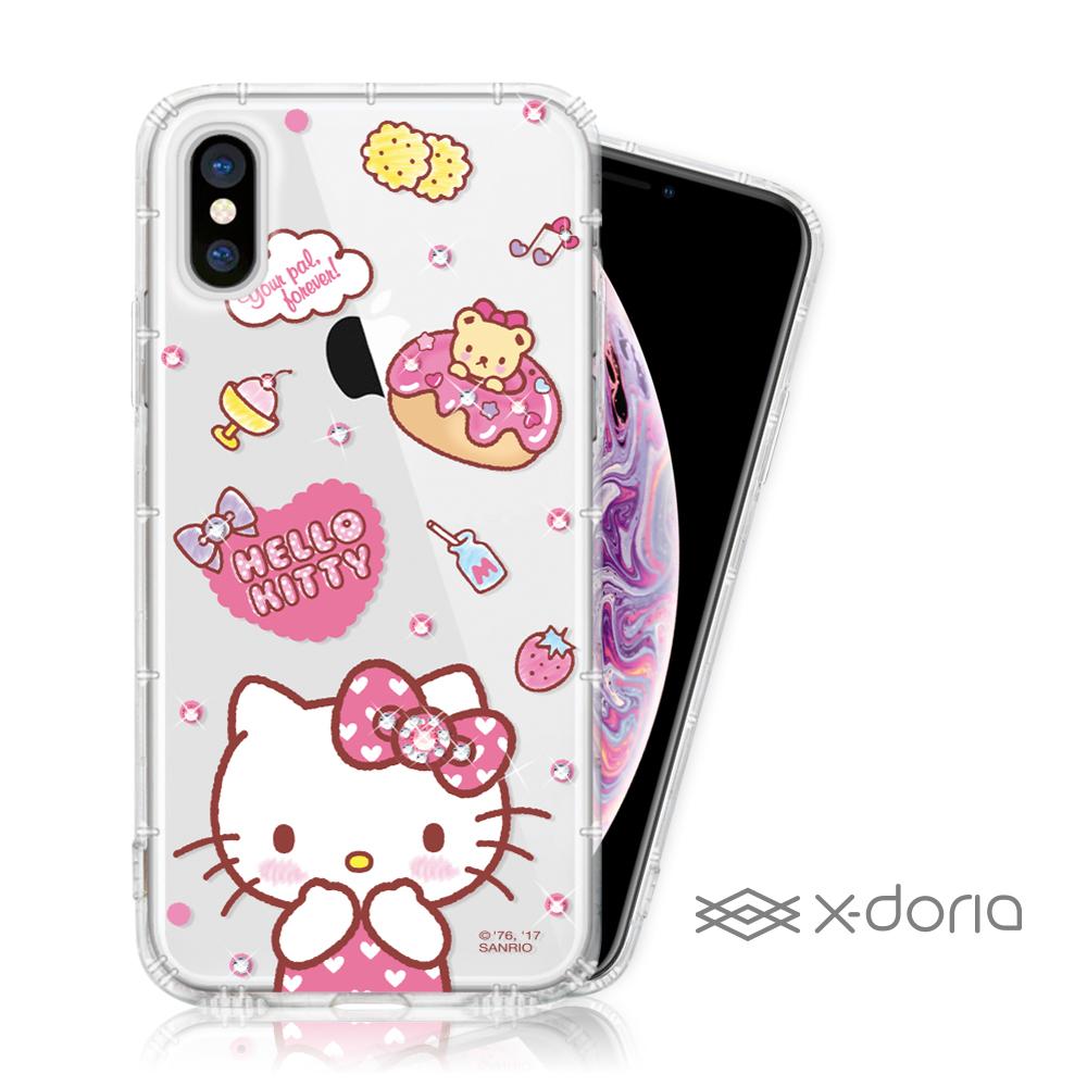 Hello Kitty iPhone Xs Max彩繪水鑽手機空壓殼 - 甜甜圈