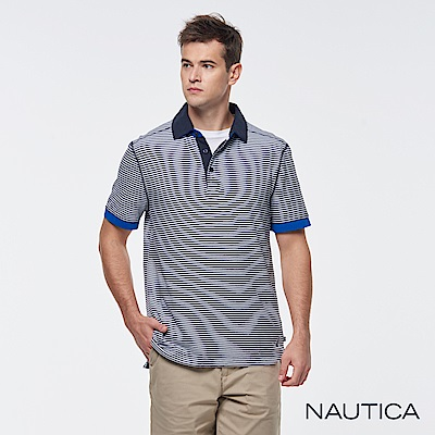 Nautica拼接撞色條紋短袖POLO衫-藍