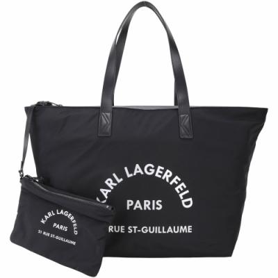 KARL LAGERFELD Rue St Guillaume 住址系列拉鍊尼龍托特包(黑色/附萬用包)