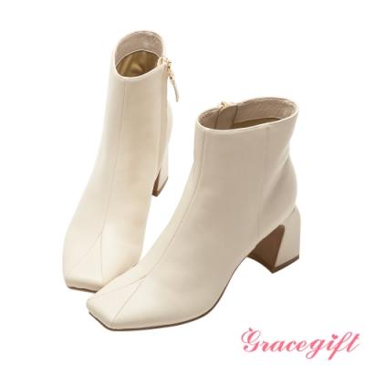 Grace gift X唐葳-聯名素面方頭高跟短靴 米白