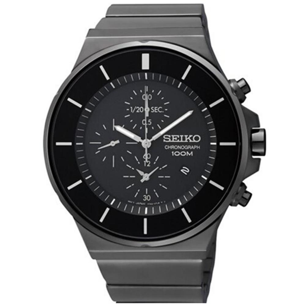 SEIKO 精工CS風格三眼計時腕錶-黑(SNDD83P1/7T92-0NG0SD)