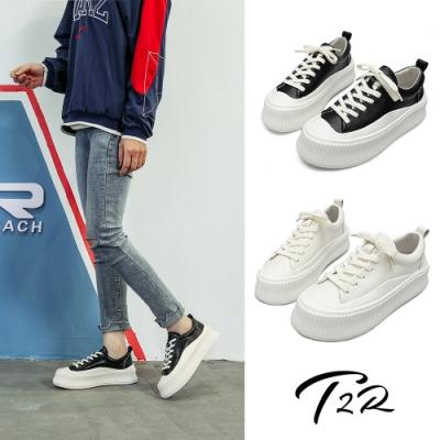 T2R-正韓空運-增高鞋全真皮厚底餅乾鞋-增高5cm-黑/白